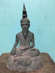 Perfect! Big Rare Antique Phra Ruesi Magic Statue Top Ancient Buddha Amulets