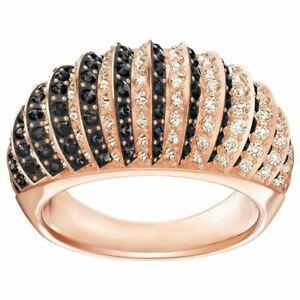 NIB $169 Swarovski Luxury Dome Ring Black Rose Gold Plated Size 52/55/58/60