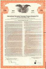International Harvester Overseas Finance Company > 1980 $1000 bond certificate