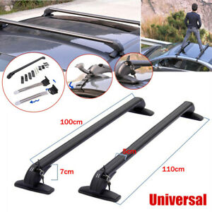 1Pair Universal Car Roof Rail Luggage Rack Baggage Carrier Cross w/Lock & Keys