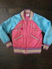 EUC MIM PI Girls Aqua Pink Embroidered Baseball Puffer Jacket Size 134 / 8