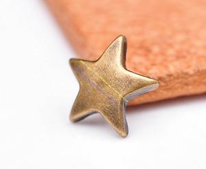 100pcs 12mm Brass Star Leathercraft Accessories Studs Rivet Tacks Belt Conchos