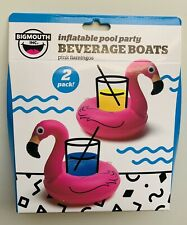 2 pk FLAMINGO Beverage Boat Inflatable Cup Drink Can Holder Pool Float -BigMouth