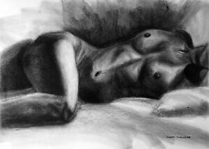 NudeFemale Original Charcoal Drawing Naked Woman Reclining Sleep Bed Sheets BIN