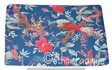 Indian 3 Yard Blue New Bird Fabric Hand Block Print Sewing Material Craft