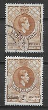 SWAZILAND , 1938 , GEORGE VI , TWO 2p  STAMPS , PERF , USED/VLH