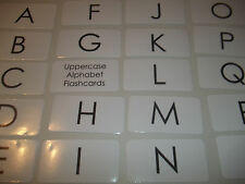 26 Laminated Black and White Uppercase Alphabet Preschool Flashcards.  4.25x2.25