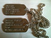 Plaques identification DOG TAG US ARMY 39/45 WW2 avec encoche airsoft gravées