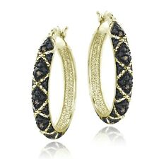 18K Gold over Sterling Silver 1/10ct Champagne Diamond Criss-Cross Hoop Earrings