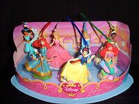 NEW Disney Princess Christmas Ornaments Figure 7  Set Jasmine Brave Aurora Tiana