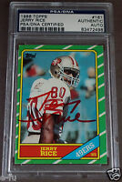 JERRY RICE Signed 1986 Topps RC BEST Red Ink Auto PSA/DNA Slabbed 49er Autograph