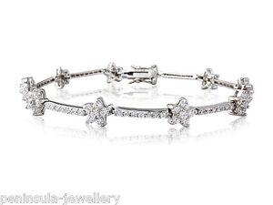 "Sterling Silver CZ Tennis Bracelet 7.5"" Ladies Hallmarked Gift Boxed 8.9g"