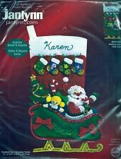 Holiday Santa Christmas Stocking Felt Embroidery Applique Sewing Kit Janlynn