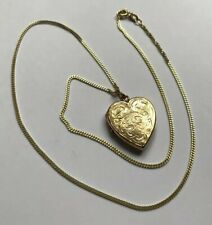 """Hallmarked HM 9ct 9k Engraved Heart Locket Pendant With 9ct 18"""" Gold Curb Chain"""