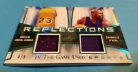 SHAQ SHAQUILLE O'NEAL & KAREEM ABDUL JABBAR GAME USED JERSEY CARD LEAF LAKERS