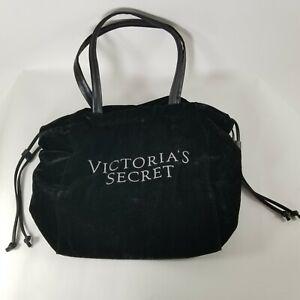 Victorias Secret Purse Tote Bag Travel Black Crushed Velvet Rhinestone Logo