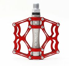 "VINQLIQ 3 Sealed Bearing CNC Aluminum Bike Pedal Cr-Mo 9/16"" Thread Spindle Red"