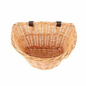 Vintage Hand Woven Bike Wicker Container Basket Cargo Storage Bicycle Panniers