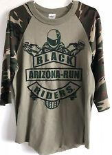 BLACK MOTORCYCLE RIDERS ARIZONA RUN AZ LETS TURN IT UP Raglan ARMY Men T-shirt M
