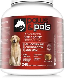 240ct Chews, Glucosamine for Dogs, Max Strength Hip &Joint Dog Supplement