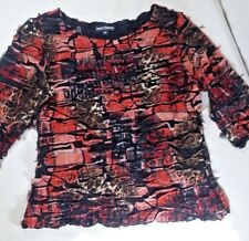 Sno Skins Women's 3/4 Sleeve Pullover Textured Top Multicolored Stretch Size M