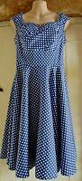 Belle Pogue 50's swing style dress blue/white polka dot Size S / UK 8-10