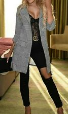 Women Houndstooth Patterned Gingham Check Print Duster Coat Jacket Grey 8-22