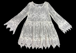 RAISED BY WILD   Long Sheer Lace Boho Blouse Top with 3/4 Sleeves   Size S