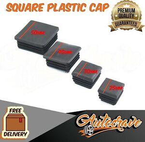 Black Plastic End Square Cap Tube Pipe Insert Box Cover Plug Blanking Trailer BB