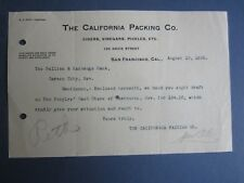 Old 1898 - California Packing Co. Cider Pickles - Letterhead - San Francisco Ca.
