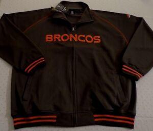 Denver Broncos Full Zip Jacket 2XL Embroidered Logos Charcoal Gray NFL