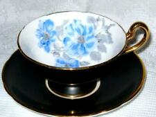 Royal Stafford Wild Roses Black Gold Footed Tea Cup and Saucer Vintage