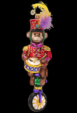 RADKO MONKEYING AROUND Circus Monkey Christmas Glass Ornament Made in Poland
