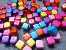 100 x Acrylic Beads - Cube - 8mm - Mixed Colour