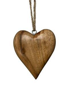 Hanging Heart Decoration Shabby Chic Mango Wood Rustic Love Heart 9 x 9 cm
