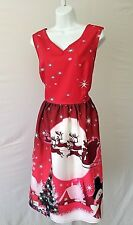RED WHITE CHRISTMAS SCENE PRINT SLEEVELESS DOUBLE V PLUS SIZE 3XL LONG DRESS