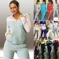Women Tracksuit Set Hoodies Sweatshirt Tops + Pants Jogger Running Sports Casual