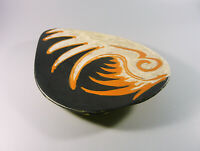 "GORKA LIVIA, BLACK RETRO PLATE WITH ROOSTER BIRD 10"", 1950'S ART POTTERY !"