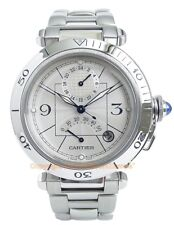 CARTIER PASHA 38 Power Reserve GMT Watch Steel W31037H3 Box/Papers/Warranty