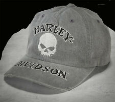 HARLEY DAVIDSON Mens Willie G Skull Washed with Distressed Bill Grey Cotton  hat
