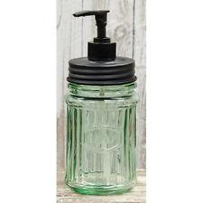New Primitive Vintage GREEN HOOSIER JAR SOAP DISPENSER Dish Shampoo Pump Holder