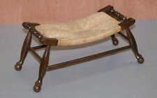 STUNNING CIRCA 1900 RUSH WOVEN SEAT CURVED STOOL VERY RARE FIND MUST SEE PICS