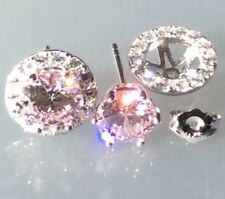 Earrings: 925 Silver Simulated Light Pink Diamond Removable Halo Stud Earrings