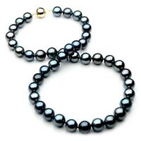 Pacific Pearls® 10-12mm New Tahitian Genuine Black Pearl Necklace Gifts For Wife