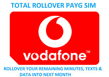 Vodafone Pay As You Go SIM Card - Roll over your remaining Data, Mins & Texts