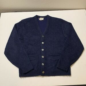 Vintage 50s Mohair Wool Orlon by Campus Cardigan Sweater USA Made Blue Men's M