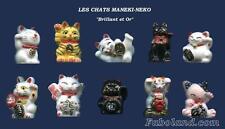 Feves Rares CHATS MANEKI-NECO PORTE BONHEUR Brillant et Or FB CATS AN757