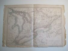Antique Upper Canada map, Cassell, Petter, & Galpin, relic condition, c.1860's