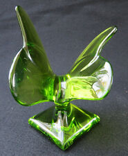 Baccarat Green Crystal Glass Butterfly on Pedestal Paperweight Figurine