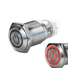 16mm 12V Red LED Momentary Push Button Switch 1NO1NC ON/OFF Stainless Steel